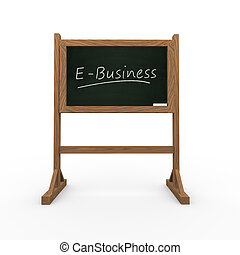 3d black chalkboard word e-business