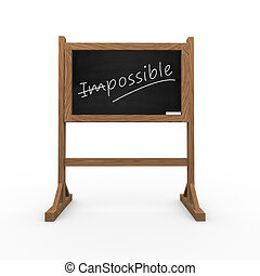 3d black chalkboard word impossible