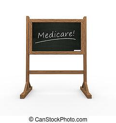 3d black chalkboard word medicare