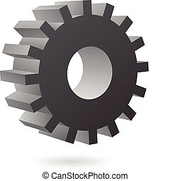 3d black cog icon on white background