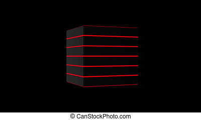 3D black cube, 4K computer generated animation