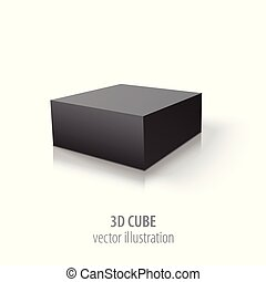 3D black cube isolated on white background.