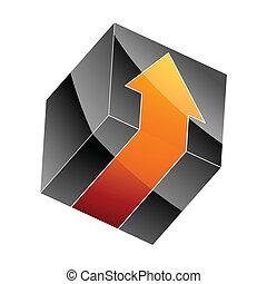 3d black cube with arrow