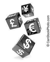 3d Black currency dice falling