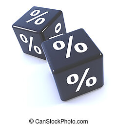 3d Black dice percentage symbols