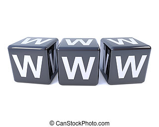 3d Black dice spell WWW