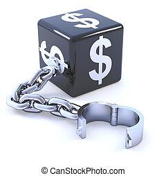 3d Black dollar dice leg iron