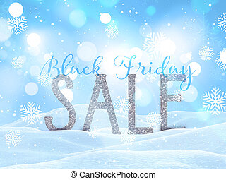 3D Black Friday sale background with snowy Christmas landscape
