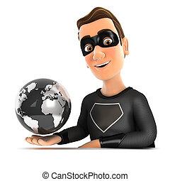 3d black hero presenting flying earth