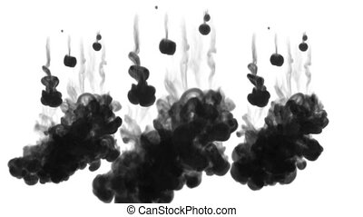 3d black ink in water. wall of ink