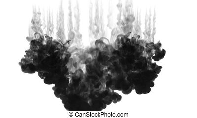 3d black ink in water. wall of volleys of ink