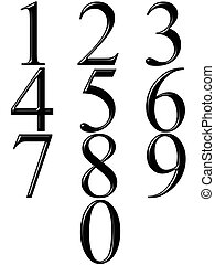 3d black numbers with reflection