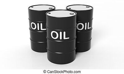 3D black oil drums ,isolated on white background