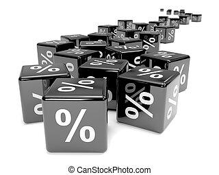 3d Black percent dice receding