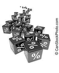 3d Black percent dice top view
