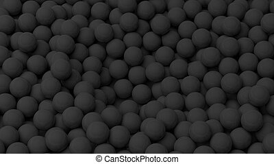 3D black  spheres pile, isolated on white with copy-space
