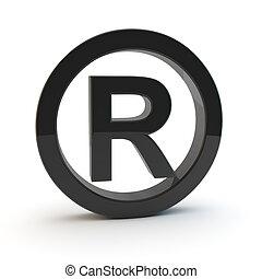 3d black trademark symbol