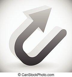 Eps 10 Vector Illustration of 3d Black U turn / Backward or Return Arrow