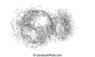 3d black wireframe spin and assemble into a 3d bitcoin symbol and earth. 4k 3d clean animation on white background