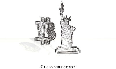3d black wireframe spin and assemble into a 3d bitcoin symbol and The Statue of Liberty. 4k 3d clean animation on white background