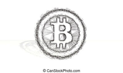 3d black wireframe spin and assemble into a 3d bitcoin symbol in ring like coin. 4k 3d clean animation on white background