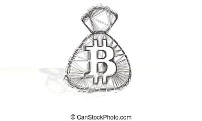 3d black wireframe spin and assemble into a 3d bitcoin symbol on the bag. 4k 3d clean animation on white background