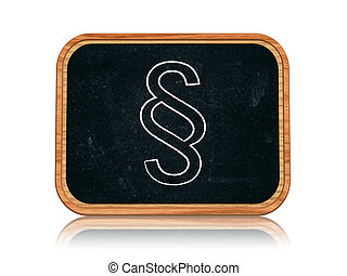 paragraph sign - 3d blackboard banner with chalk paragraph...