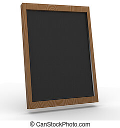 3D blackboard on white background