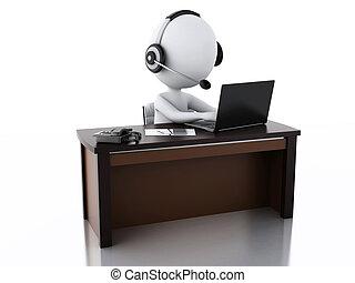 3d, blanc, gens, à, a, écouteurs, à, microphone, et, laptop.