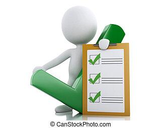 3d, blanc, gens, à, presse-papiers, checklist.