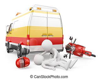 3d, blanc, gens., ambulance, dans, a, motocyclette, accident