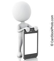 3d, blanc, gens, côté, les, smartphone.