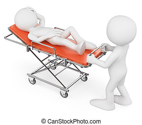 3d, blanc, gens., infirmière, porter, a, patient, sur, a, brancard