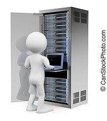 3d, blanc, gens., ingénieur, dans, étagère, serveur réseau,...