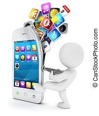 3d, blanc, gens, ouvre, a, smartphone