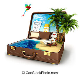 3d, blanc, gens, paradis, valise