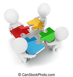 3d, blanc, gens, puzzle, équipe