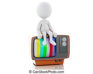 3d, blanc, tv., retro, gens