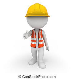 3d, blanco, gente, como, trabajador del camino