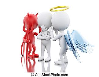 3d, blanco, gente, con, ángel, y, devil.