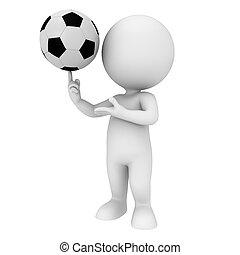 3d, blanco, gente, con, fútbol