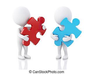 3d, blanco, gente, con, pedazo, de, un, puzzle.