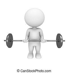 3d, blanco, gente, con, pesas