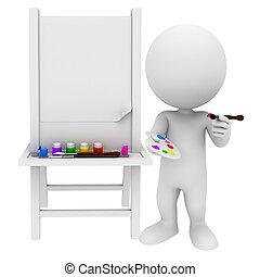 3d, blanco, gente, con, pintura