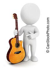 3d, blanco, gente, con, un, guitarra
