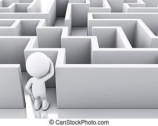 3d, blanco, gente, con, un, maze.