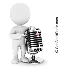 3d, blanco, gente, con, un, micrófono