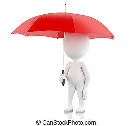 3d, blanco, gente, con, un, rojo, umbrella.
