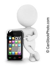 3d, blanco, gente, con, un, smartphone