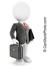 3d, blanco, gente, elegante, hombre de negocios